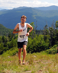 Kevin Tilton, of North Conway, NH, nears the end of The Loon Mountain Race, held at Loon Mountain Resort, in Lincoln, NH, on July 8th, 2012. Mr. Tilton finished in sixth place, with a time of 1:16:49.