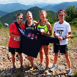 By finishing in the first four spots in The Loon Mountain race, which was held at Loon Mountain Resort, in Lincoln, NH, on July 8th, 2012. these runners (from left), Stevie Kremer, of Crested Butte, CO, Brandy Erholtz, of Evergreen, CO, Melody Fairchild, of Denver, and race winner Morgan Arritola, of Ketchum, Idaho, qualified for the Women's US Mountain Running Team, which will compete in the World Mountain Running Championships, to be held in September in Ponte di Legno, Italy.