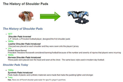 History of Shoulder Pads