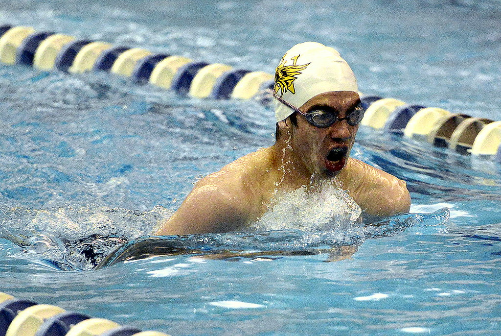 . Thompson Valley\'s Ben Smith pops up during his breaststroke leg of the 200-yard individual medley Friday during the preliminaries of the 4A state swim meet. Smith comes back seventh for Saturday\'s finals at the Air Force Natatorium.  (Photo by Mike Brohard/Loveland Reporter-Herald)