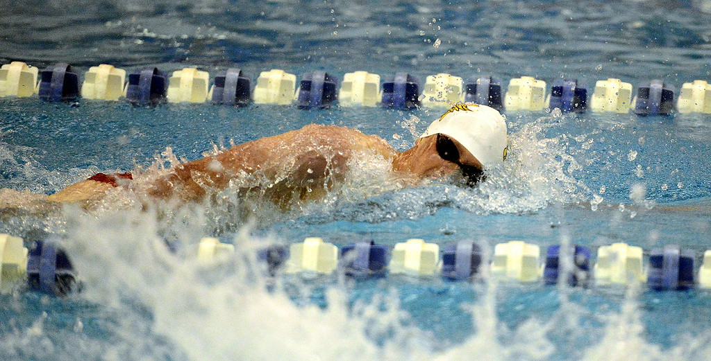 . Thompson Valley\'s Chris Eddy comes back for Saturday\'s finals in the 200-yard freestyle seeded seventh after posting a time of 1:44.84 during Friday\'s preliminaries of the 4A state swim meet at the Air Force Natatorium.  (Photo by Mike Brohard/Loveland Reporter-Herald)