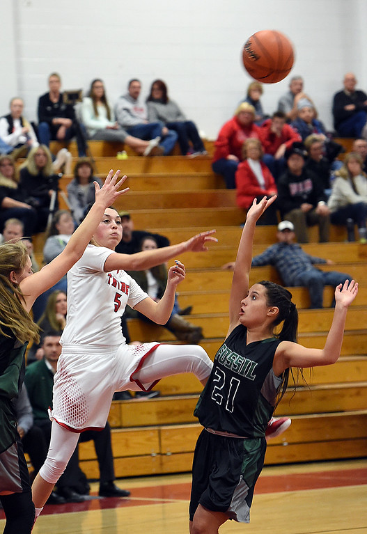 . Loveland High\'s #5 Tatum Rembao passes the ball during their game against Fossil Ridge Tuesday, Jan. 10, 2017, at Loveland High School. (Photo by Jenny Sparks/Loveland Reporter-Herald)