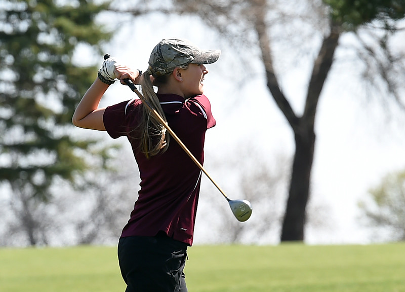 Berthoud High's KyraMcDonald hits from the fairway during the Loveland Invitational golf tournament Thursday, April 13. 2017, at the Olde Course in Loveland. (Photo by Jenny Sparks/Loveland Reporter-Herald)