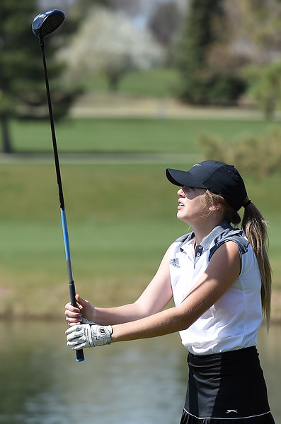 Mountain View High's Renee Demaree tees off during the Loveland Invitational golf tournament Thursday, April 13. 2017, at the Olde Course in Loveland. (Photo by Jenny Sparks/Loveland Reporter-Herald)