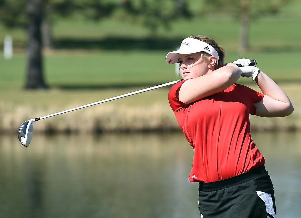 . Loveland High\'s Aili Bundy tees off during the Loveland Invitational golf tournament Thursday, April 13. 2017, at the Olde Course in Loveland. (Photo by Jenny Sparks/Loveland Reporter-Herald)