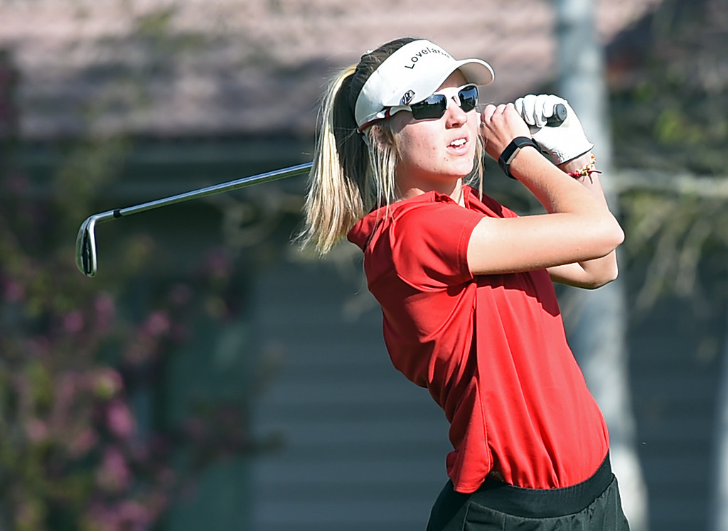 . Loveland High\'s Lauren Lehigh tees off during the Loveland Invitational golf tournament Thursday, April 13. 2017, at the Olde Course in Loveland. (Photo by Jenny Sparks/Loveland Reporter-Herald)