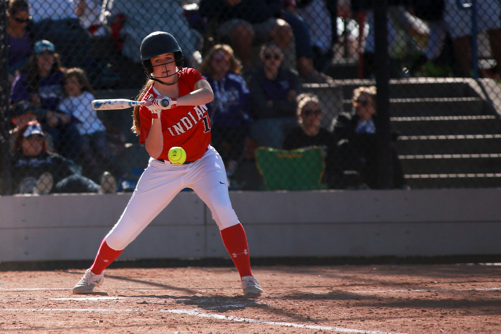 . Loveland�s (11) Allison Westbrook swings to bat at their game against Arvada West at the state championships for high school softball at Aurora Sports Park on Oct. 19, 2018 in Aurora, Colo. Photo by Taelyn Livingston/ Loveland Reporter-Herald