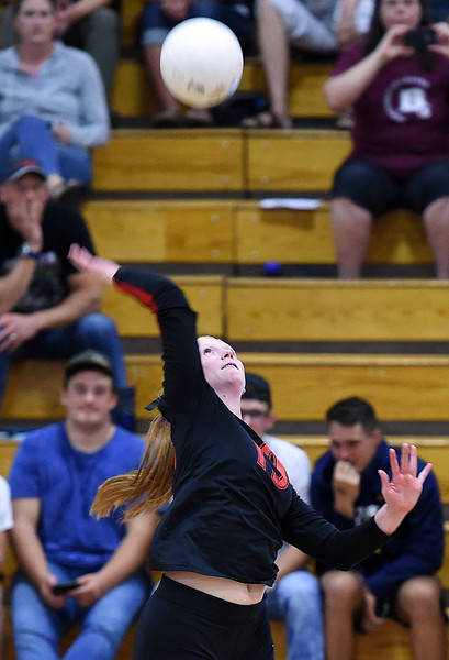 Loveland's Jaxin Melby spikes the ball during their volleyball game against Berthoud on Wednesday, Sept. 5, 2018, at Loveland High. (Photo by Jenny Sparks/Loveland Reporter-Herald)