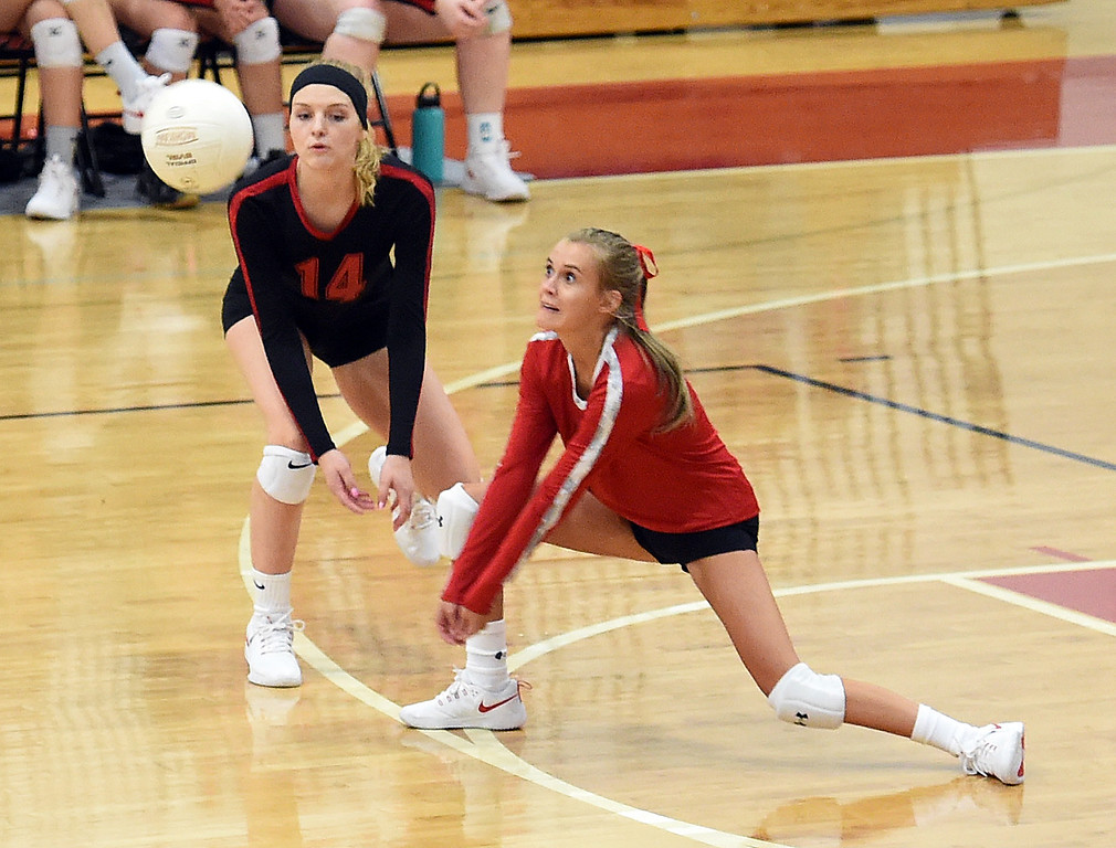 . Loveland\'s McKinlee Foley hits the ball during their volleyball game against Berthoud on Wednesday, Sept. 5, 2018, at Loveland High. (Photo by Jenny Sparks/Loveland Reporter-Herald)