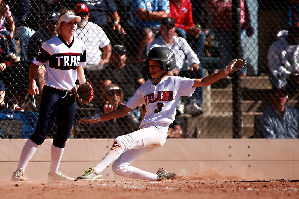 . Loveland�s (3) Avery Buhler slides into home base at the Colorado state championships during their game against Cherokee Trail at Aurora Sports Park on Oct. 20, 2018 in Aurora, Colo.Photo by Taelyn Livingston/ Loveland Reporter-Herald