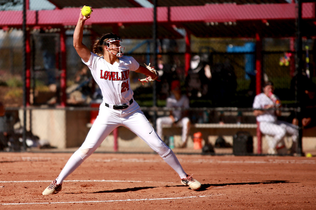 . Loveland�s (24) Laurin Krings winds up her pitch at the Colorado state championships during their game against Cherokee Trail at Aurora Sports Park on Saturday, Oct. 20, 2018 in Aurora, Colo.Photo by Taelyn Livingston/ Loveland Reporter-Herald
