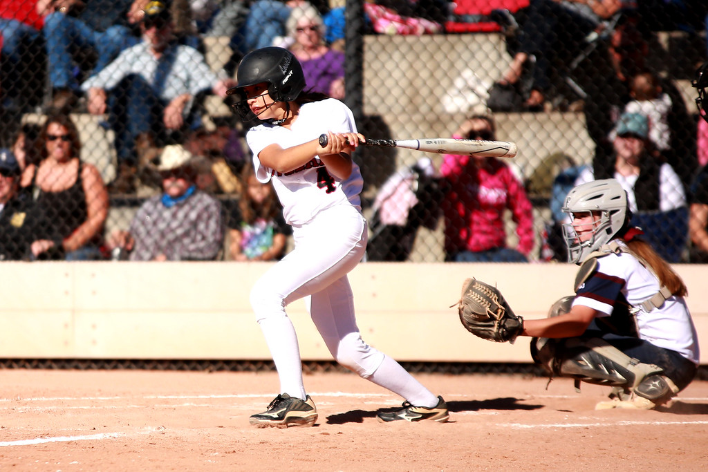 . Loveland�s (4) Emma Duran swings her bat at the Colorado state championships during their game against Cherokee Trail at Aurora Sports Park on Oct. 20, 2018 in Aurora, Colo.Photo by Taelyn Livingston/ Loveland Reporter-Herald