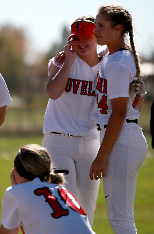 . Loveland�s (24) Laurin Krings hugs (2) Elana Gerhard as their season comes to an end after their game agianst Cherokee Trail at Aurora Sports Park on Oct. 20, 2018 in Aurora, Colo.Photo by Taelyn Livingston/ Loveland Reporter-Herald