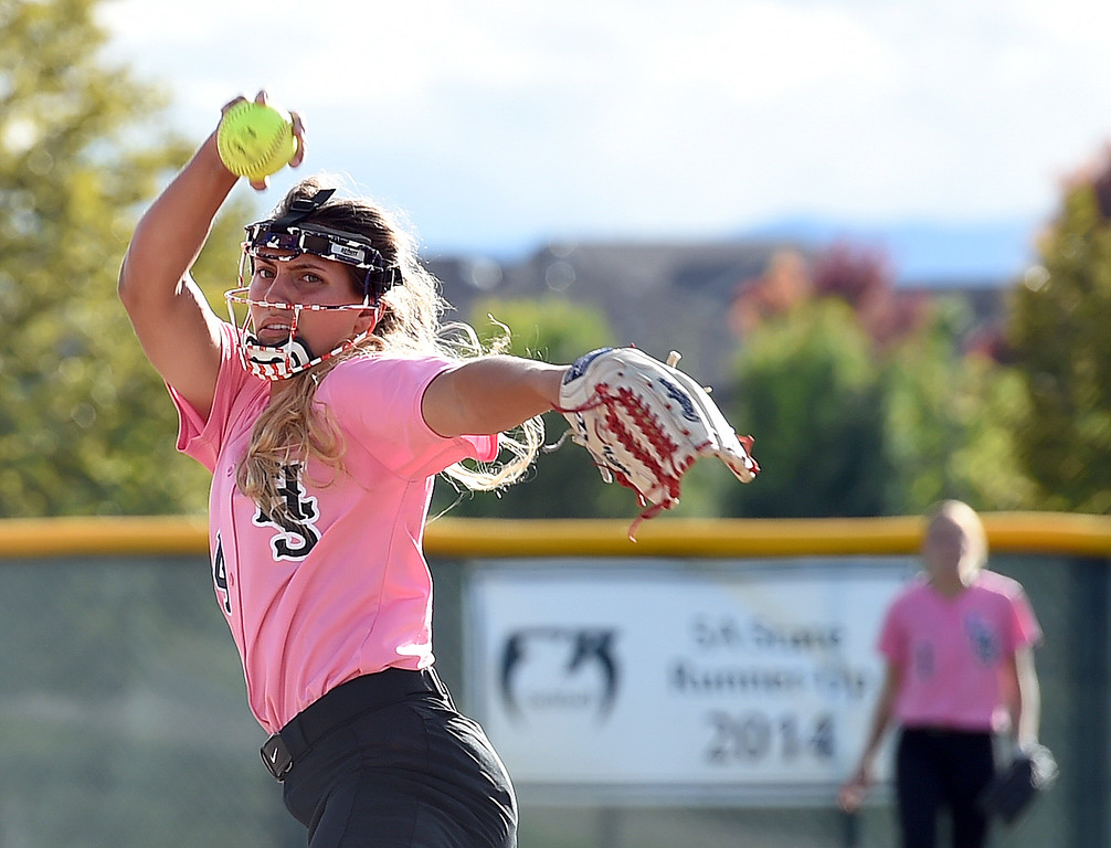 . Loveland\'s (24) Lauren Krings pitches during their game against Fossil Ridge Tuesday, Oct. 2, 2018, at Fossil Ridge High School in Fort Collins.   (Photo by Jenny Sparks/Loveland Reporter-Herald)