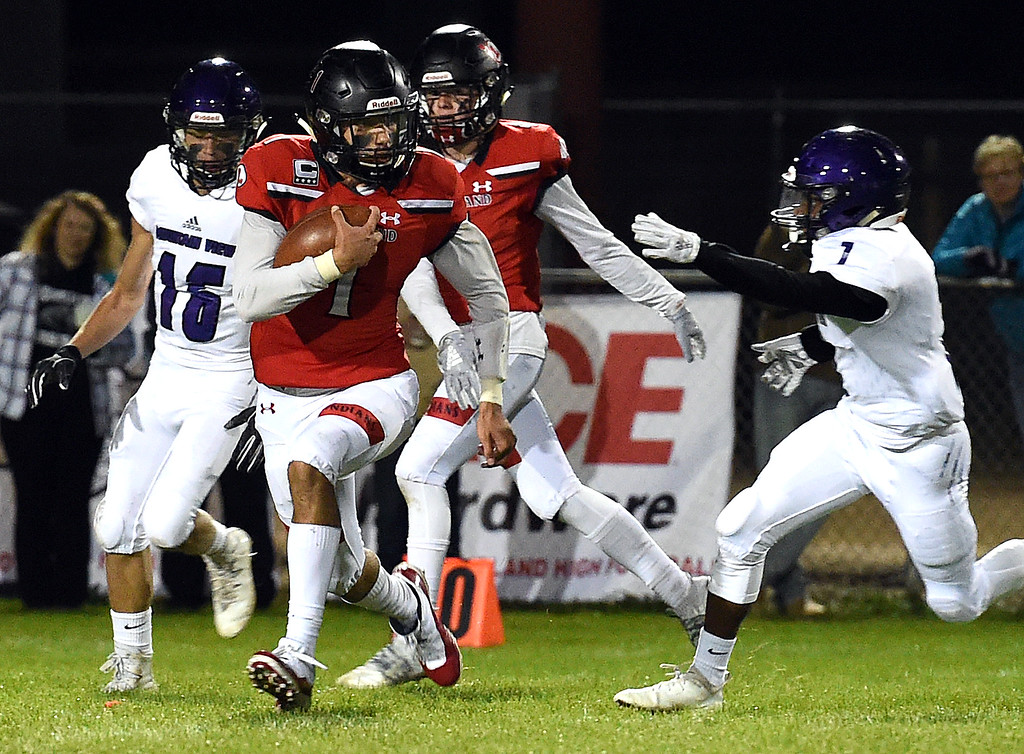 . Loveland\'s (1) Isaiah Meyers takes the ball downfield game against Mountain View Friday, Sept. 28, 2018, at Patterson Stadium in Loveland.   (Photo by Jenny Sparks/Loveland Reporter-Herald)