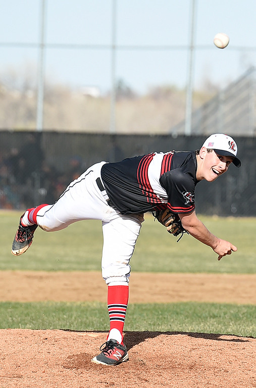 . Loveland\'s #6 Jackson Cabrera pitches during their game against Thompson Valley Wednesday, April 5, 2017, at Thompson Valley High School in Loveland. (Photo by Jenny Sparks/Loveland Reporter-Herald)