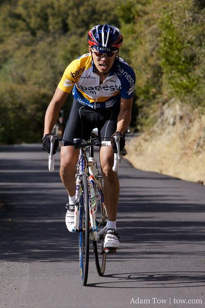Jorge puts in his final effort to get to the top of Mt. Diablo