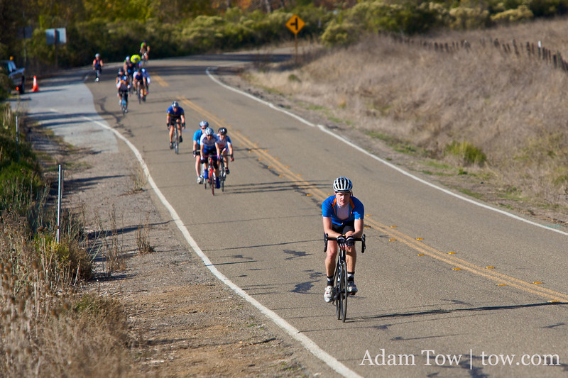 Riders are strung out on the major downhill section of Mt. Hamilton.