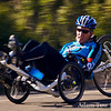 Recumbent going downhill on Mt. Hamilton.