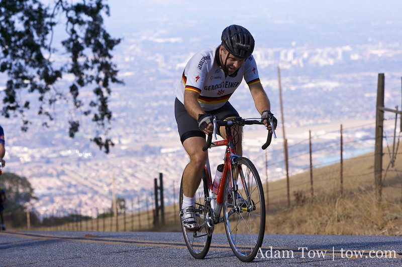 Ron makes his way to the top, one pedal at a time.
