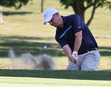 Final round of Lowell City Golf Tournament at Mt Pleasant Golf Club. Stephen Parise Jr. hits out of a bunker on the 9th hole.  (SUN/Julia Malakie)