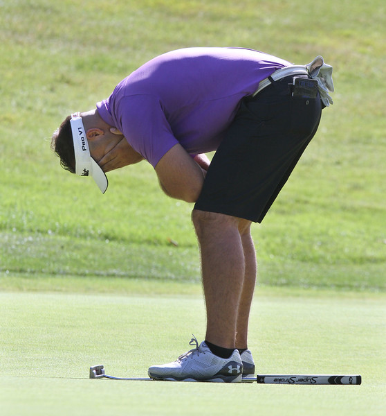 Round 2 of Lowell City Golf Tournament, at Long Meadow Golf Club. Nick Fantasia of Mt. Pleasant reacts to missing a putt on the (SUN/Julia Malakie)