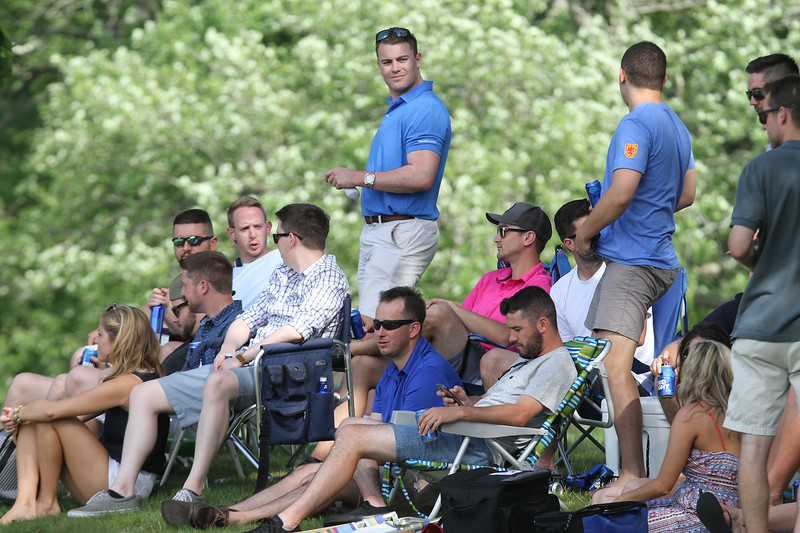 Round 2 of Lowell City Golf Tournament, at Long Meadow Golf Club. Spectators overlooking the 8th green. (SUN/Julia Malakie)