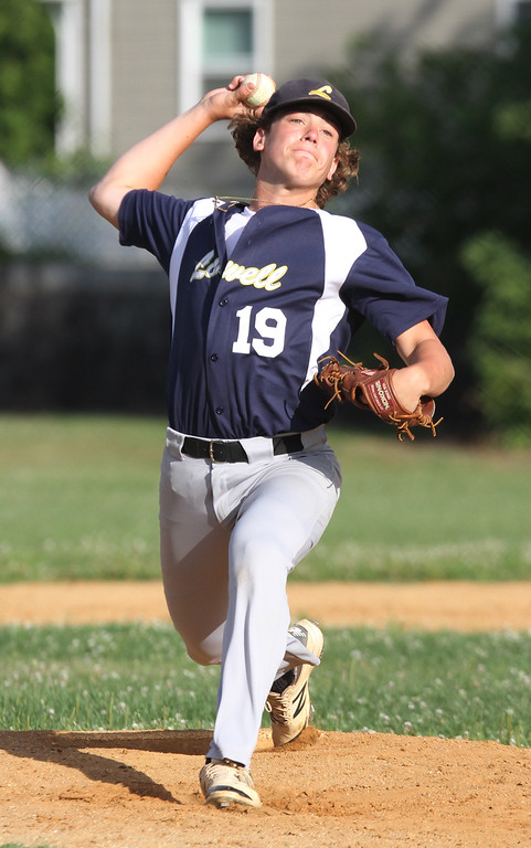 . Lowell vs Dracut 14-15 year old Pony League baseball. Lowell starting pitcher Ben Zaim. (SUN/Julia Malakie)