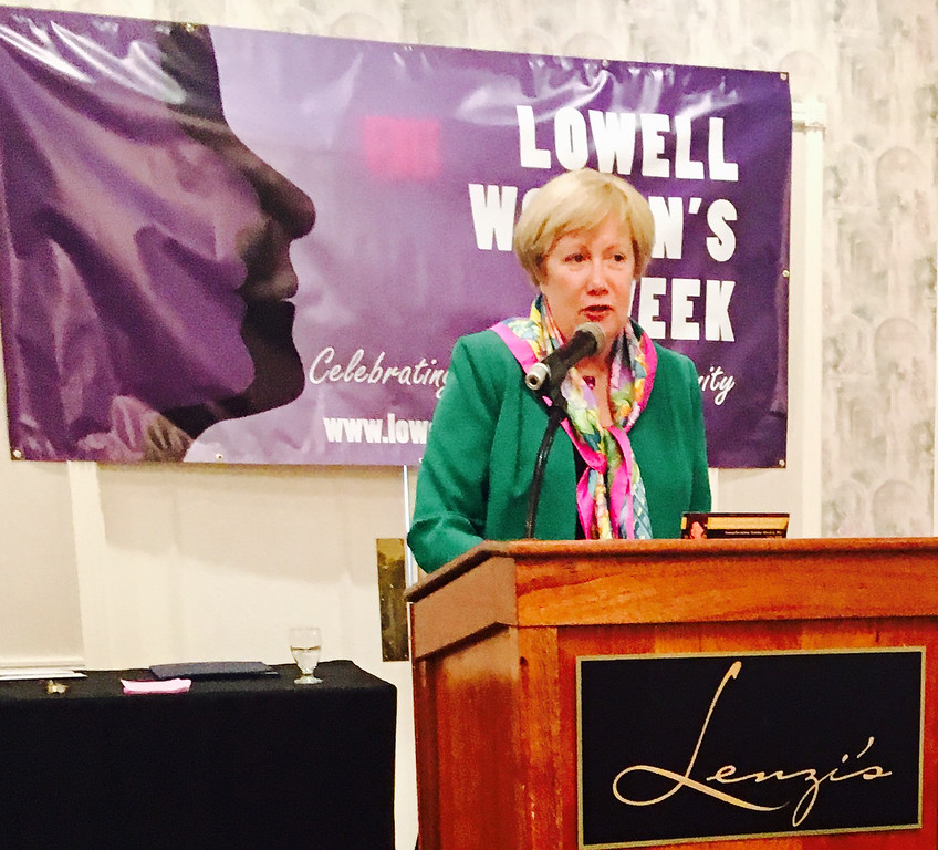 . State Sen. Eillene Donoghue of Lowell speaks
