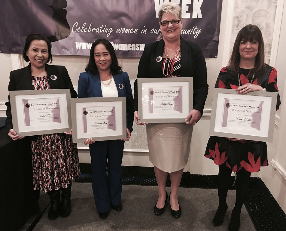 . Because of Her Award recipients, from left, Kolab Thou, Phousita S. Huy, Sally Thayer and Louise Griffin, all of Lowell