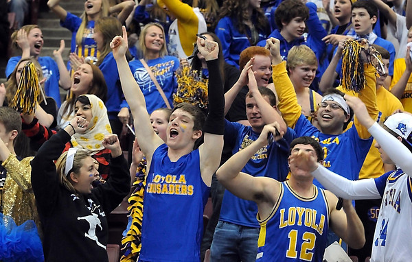 Loyola fans cheer during the second half of the Class A quarterfinal game Thursday at Mariucci Arena. Pat Christman