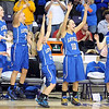 Loyola girls basketball players celebrate after defeating Lester Prairie/Holy Trinity in the Section 2A championship game Friday at Bresnan Arena. Pat Christman