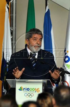 Brazilian President Luiz Inacio Lula da Silva speaks during a ceremony to celebrate Olympic Day at Guabanabara palace, Rio de Janeiro, Brazil, June 23, 2008. Rio de Janeiro is a candidate city to host the 2016 Olympic Games. Chicago, Tokyo and Madrid are the other candidate cities. (Austral Foto/Renzo Gostoli)