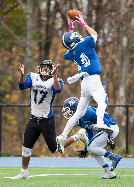 Lunenburg's Benjamin Cumming intercepts a pass intended for Murdock's Daunte Pridgen.