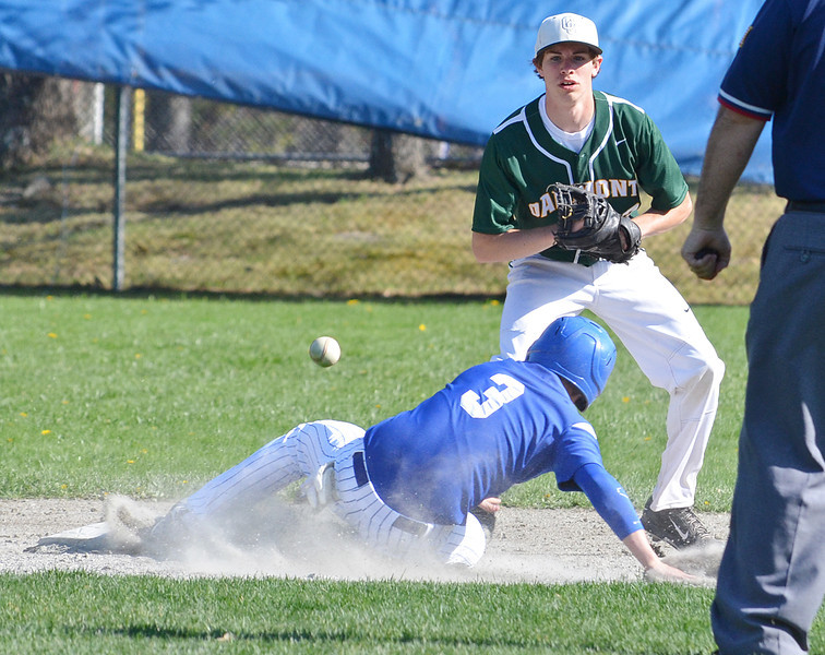 Lunenburg's #3 Jeremy Nash slides safely into second during the game against Oakmont on Wednesday afternoon. Lunenburg came out on top 4-2. SENTINEL & ENTERPRISE / Ashley Green