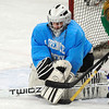 Lunenburg/Ayer goalie Alec McNamara covers up the puck during practice on Tuesday.<br /> SENTINEL & ENTERPRISE / BRETT CRAWFORD