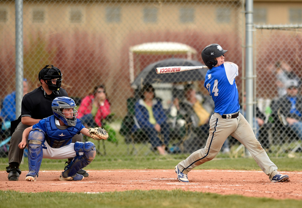 . Lyons High School\'s Lief Klopson hits a double during a game against Alexander Dawson on Monday in Lafayette. More photos: BoCoPreps.com Jeremy Papasso/ Staff Photographer 04/23/2018