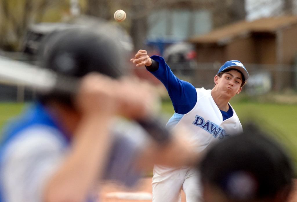 . Alexander Dawson School pitcher Chase Fulkerson throws a pitch during a game against Lyons on Monday in Lafayette. More photos: BoCoPreps.com Jeremy Papasso/ Staff Photographer 04/23/2018