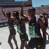 BOLDER<br /> Left to right, Ethiopian runners Tadese Tola, Tilahun Regassa and Lelisa Desisa celebrate their group win during the 32nd Annual Day Bolder Boulder on Monday. The three men crossed the finish line hand in hand. <br /> Photo by Marty Caivano/Camera/May 31, 2010
