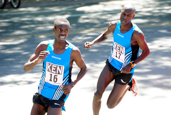 Allan Kiprono  and teammate Lani Rutto lead  the International Team Challenge Pro Men's  Race during the 2012 Bolder Boulder. Kiprono was the races winner but Rutto faded to 14th place. <br /> Photo by Paul Aiken / The Camera<br /> Photo by Paul Aiken / The Camera