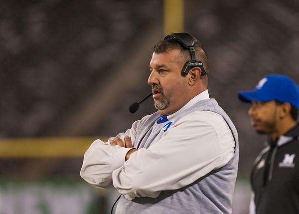 Four time State Champion Head Coach Fiore watching his plan unfold before him, MetLife Stadium Dec 1, 2017. Image, Scott Kennedy/The Montclair Dispatch