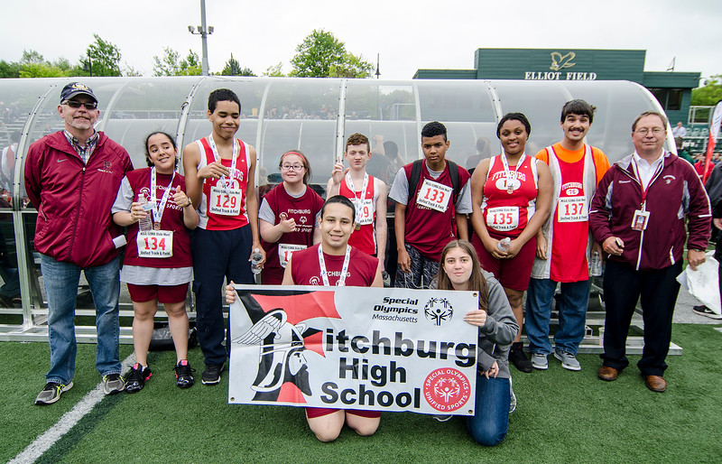 The Fitchburg High team huddles up for a photo during the First Annual MIAA Special Olympics Massachusetts Unified Track State Championship at Fitchburg State University on Tuesday afternoon. SENTINEL & ENTERPRISE / Ashley Green