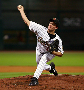 August 27, 2008 - Roy Oswalt pitched 7 strong innings giving up just one run and 5 hits against the Cincinnati Reds.  Oswalt picked up the win as the Astros defeated the Reds 4-1 at Minute Maid Park in Houston.
