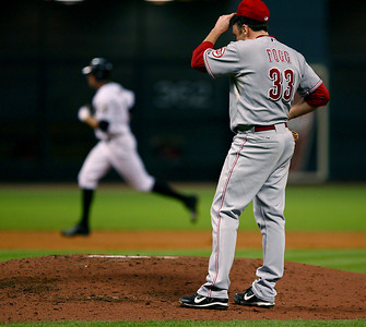 August 27, 2008 - Cincinnati Reds starting pitcher Josh Fogg reacts after Hunter Pence hits a 2 run home run to give the Houston Astros a 2-1 lead.   The Astros defeated the Reds 4-1 at Minute Maid Park in Houston.