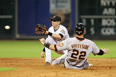 June 22, 2010 - Eli Whiteside is thrown out attempting to steal second base in the sixth inning. The Houston Astros lost to the San Francisco Giants 3-1 Tuesday.