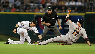 June 22, 2010 - Former Astro Aubrey Huff is thrown out attempting to steal second base. The Astros lost to the San Francisco Giants 3-1.