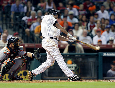 June 22, 2010 - Lance Berkman connects for a single late in the game. However, the Astros couldn't put together enough offense, as the Astros fell to the San Francisco Giants 3-1.