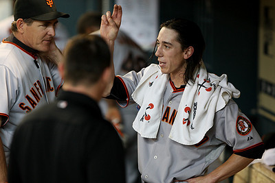 June 22, 2010 - San Francisco Giants pitcher Tim Lincecum discusses his pitching technique with pitching coach Dave Righetti.  Lincecum kept the Houston Astros bats quiet as the Giants defeated the Astros 3-1.