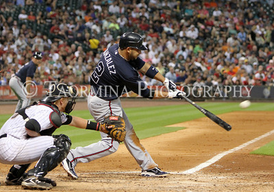 June 10, 2011; Houston, TX, USA; Atlanta Braves infielder Alex Gonzalez (2) gets a double in the fifth inning against the Houston Astros at Minute Maid Park. Mandatory Credit: Troy Taormina-US PRESSWIRE