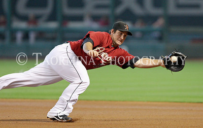 June 12, 2011; Houston, TX, USA; Houston Astros infielder Brett Wallace (29) attempts to field a ground ball in the first inning against the Atlanta Braves at Minute Maid Park. Mandatory Credit: Troy Taormina-US PRESSWIRE